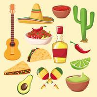 comida mexicana e elementos vetor