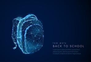 Saco de escola abstrata. De volta à escola backgrpund. Design de estilo baixo poli.