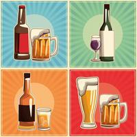 conjunto de bebidas vintage vetor