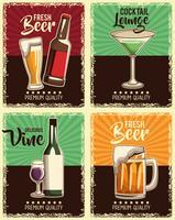 conjunto de cartaz de bebidas vintage vetor