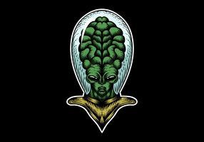 cabeça alienígena grande vetor