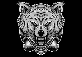 lobo com raiva fones de ouvido