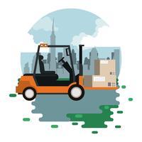 cartoon de carga logística de mercadoria de transporte vetor