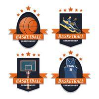 Conjunto de esporte de basquete de emblemas vetor