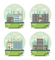 Conjunto de cenários de vista da paisagem urbana de edifícios urbanos vetor