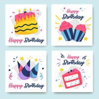 Coleção de cartões de aniversário coloridos