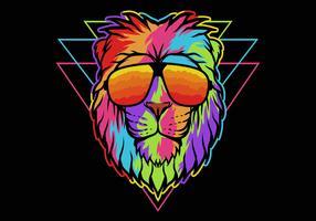 Leão de arco-íris usando óculos vetor
