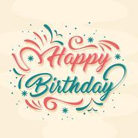 Letras de feliz aniversário de mão desenhada vetor
