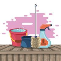 Produtos de limpeza para desenhos animados em casa vetor