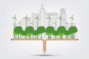 Lápis Ecologia e Conceito Ambiental vetor