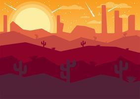 noite do deserto com cometas vetor