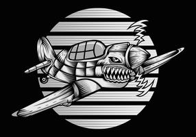Ariplane tubarão vintage vetor