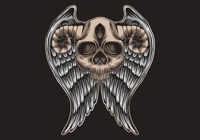 Crânio com chifres e asas