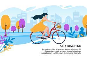 Menina feliz dos desenhos animados Ciclista Ride Bike City Street vetor