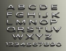 Alfabeto 3D de cromo de vetor