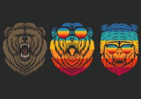 Conjunto de urso com raiva retrô vetor
