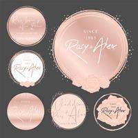 Mão de ouro rosa desenhada Logo Design