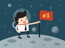 Empresário plantando bandeira na lua vetor