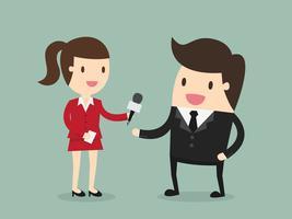 Jornalista feminina Entrevistando Empresário vetor