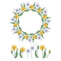Mão desenhada dandelions vetor