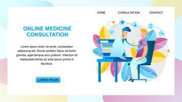 Médico de consulta de medicina on-line vetor