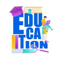 Palavra Educação Desatualizada com Acessórios Escolares vetor