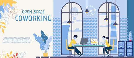 Espaço aberto, banner de escritório de Coworking