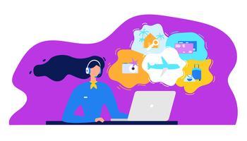 Agência de viagens Call Center com mulher trabalhando no laptop vetor