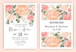 Cartão de convite de casamento floral Quadro de mão floral desenhado vetor