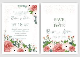 Cartão de convite de casamento floral moderno