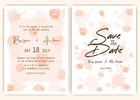 Rose dispersou cartão de convite de casamento vetor