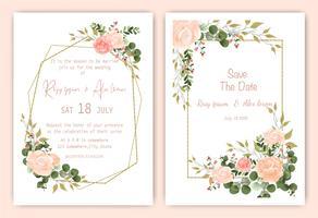 Salve o cartão de convite de casamento floral de data vetor