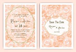 Cartão de convite de casamento rosa Quadro de mão floral desenhado vetor