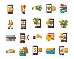 Ícones de cartão de crédito vetor