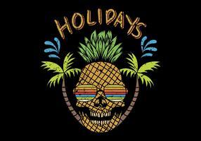 abacaxi do crânio com texto dos feriados vetor