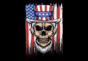 crânio de tio sam na frente da bandeira do EUA