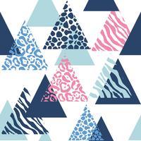 padrão sem emenda triângulo com animal print vetor