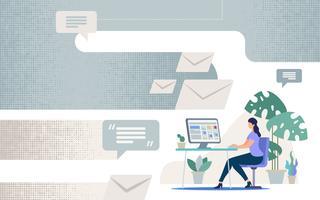 Comunicação on-line em negócios vetor