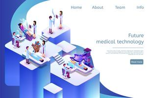 Isometric Banner Future Medical Technology em 3D