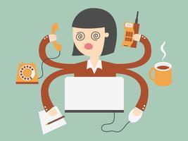 Mulher negócio, trabalhando muito, difícil vetor