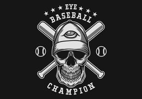 crânio com tema de beisebol