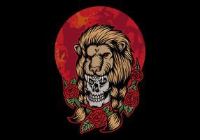 crânio usando cabeça de leão na frente da lua vermelha