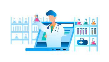 Doença on-line de exame médico vetor