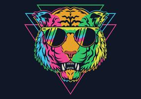Tigre colorido usando óculos vetor