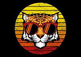 Tigre retrô na frente do pôr do sol vetor