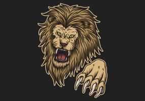 ataque de leão bravo vetor