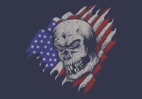 crânio na frente da bandeira dos EUA