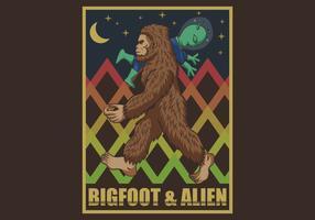 retro bigfoot & alien vetor