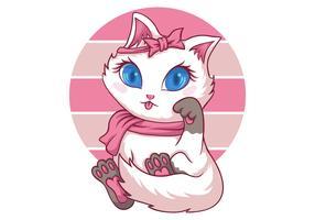 gato fofo feminino vetor