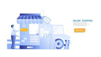 conceito de compras on-line, o homem às compras no smartphone vetor